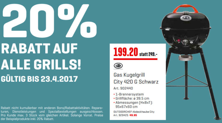 InterDiscount - Gas Kugelgrill City 420 G Schwarz Aktion bis 23 April 2017